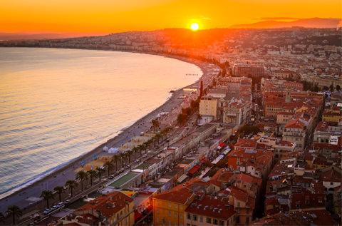 Solnedgang over Nice