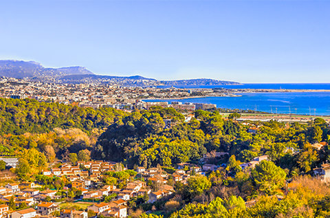 Solfylt landskap i Cagnes-sur-Mer