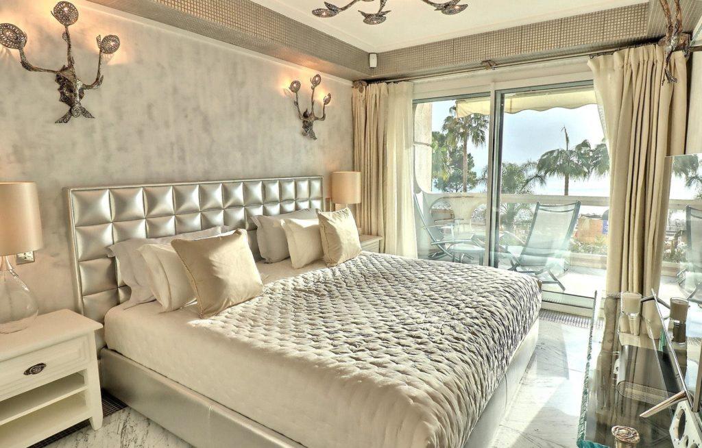 bedroom with modern design with sliding door to terrace
