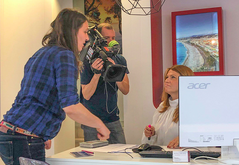 filming at a real estate agency in south of france