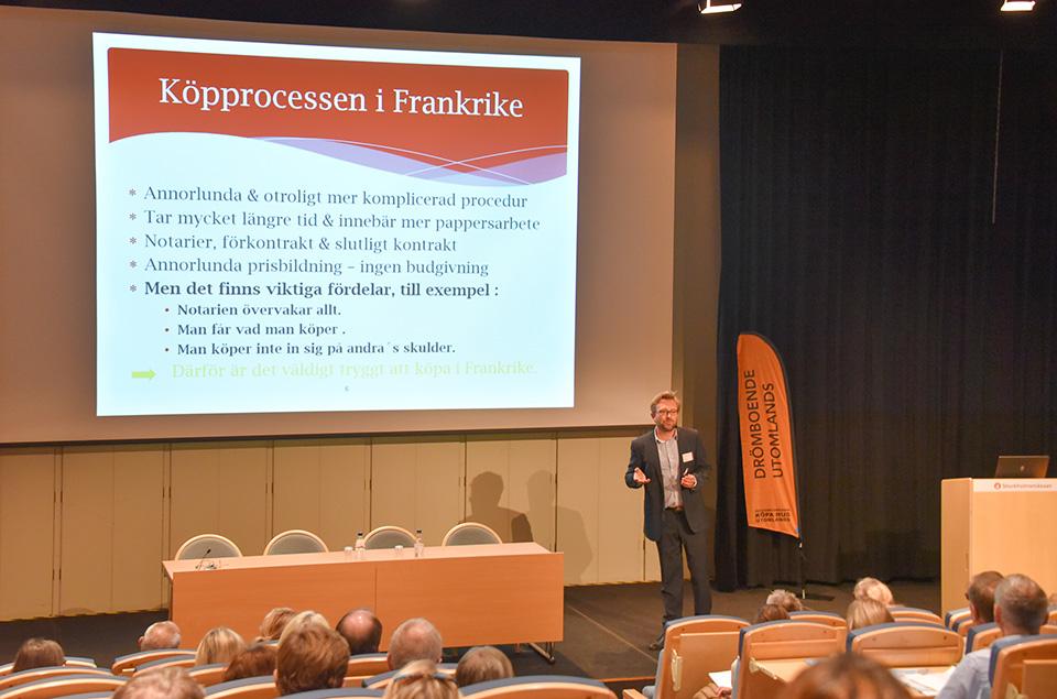 Johan Wretman håller föredrag om köpprocessen i Frankrike