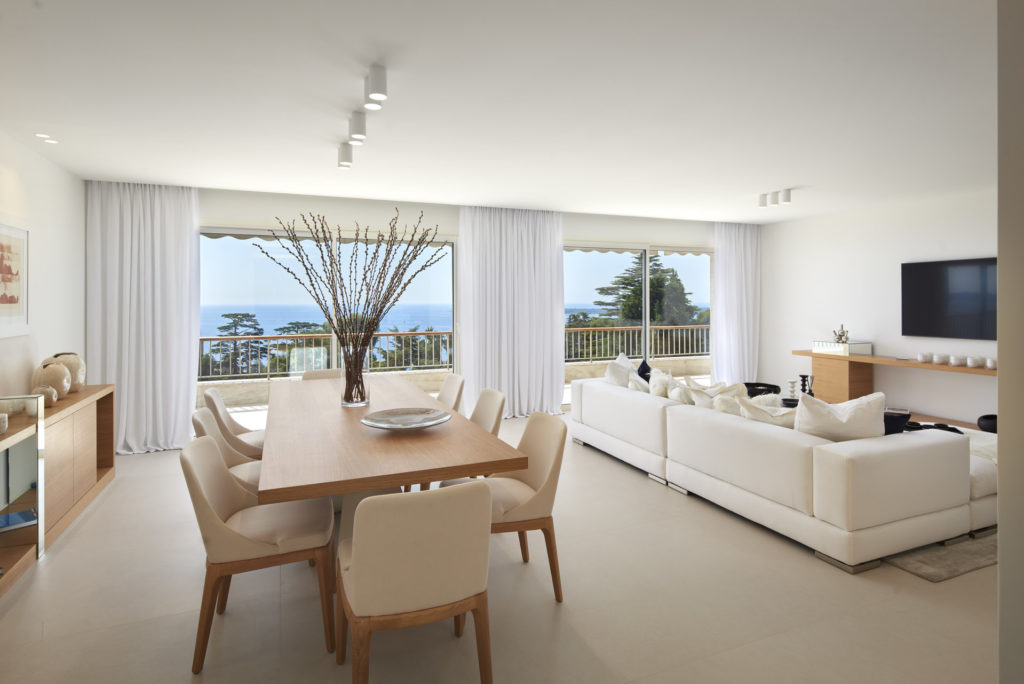 dining room of luxury apartment with sea view