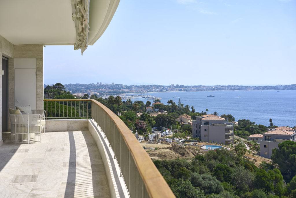sea view from terrace of apartment in cannes californie south france