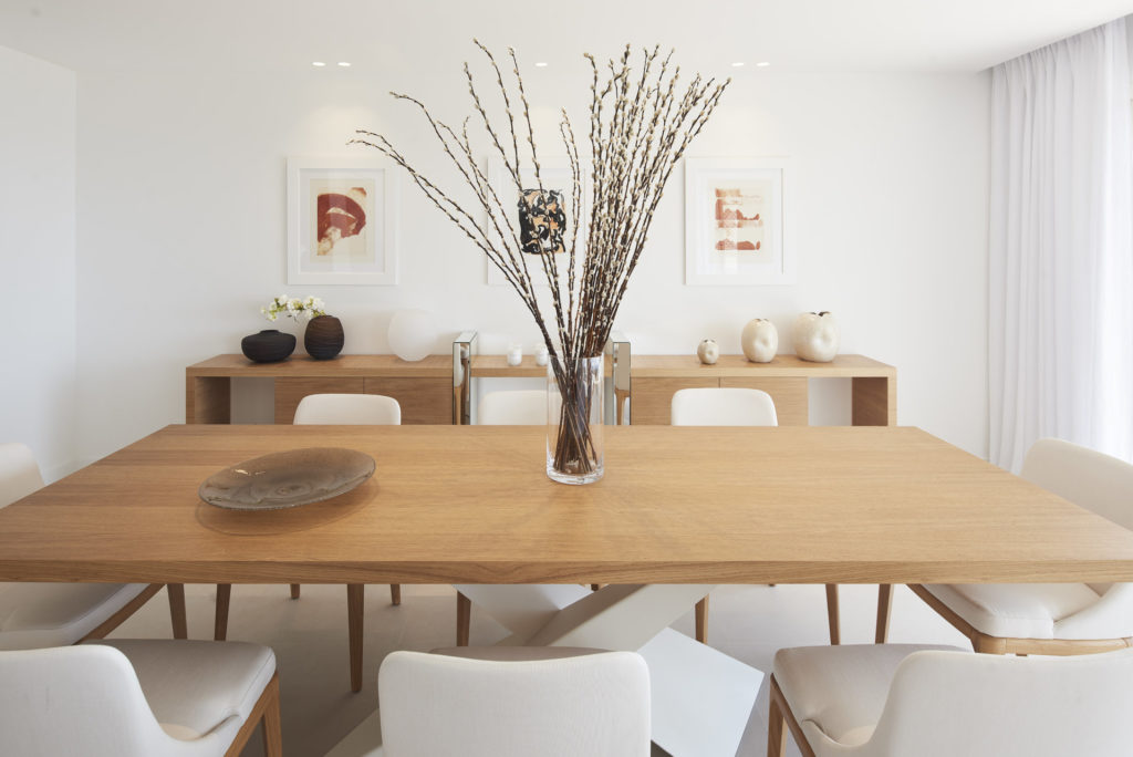 lightwood dining room table with boho decor