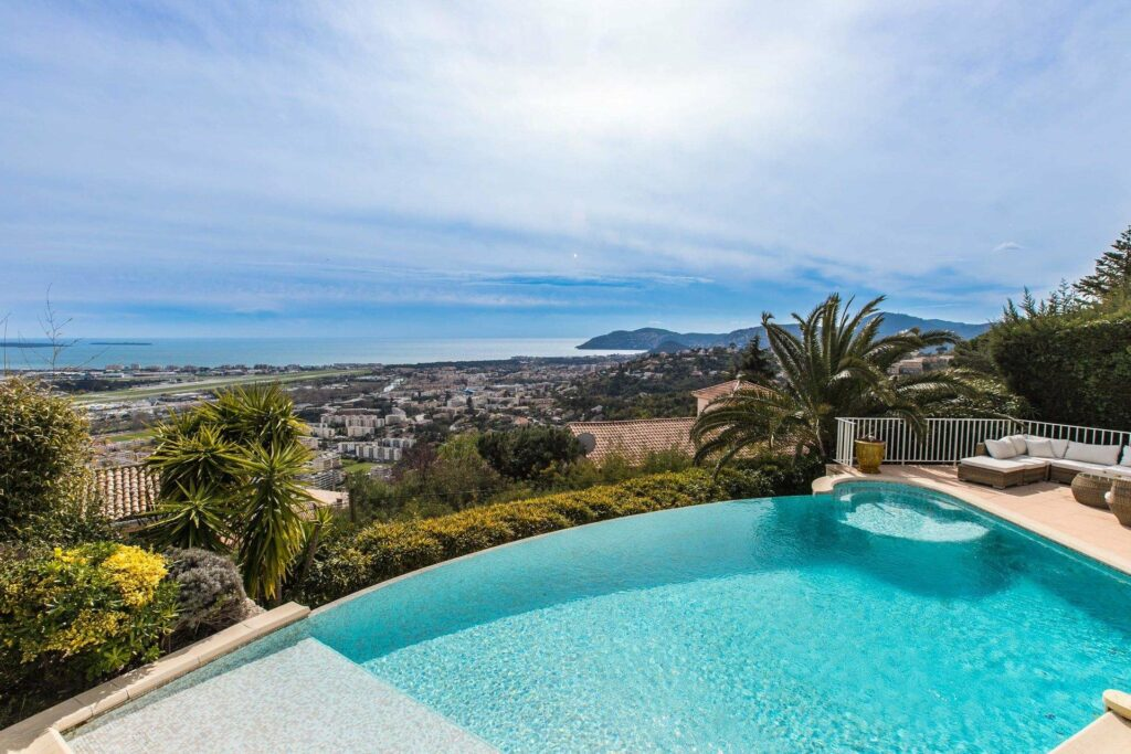 large villa pool with sea and mountain view view