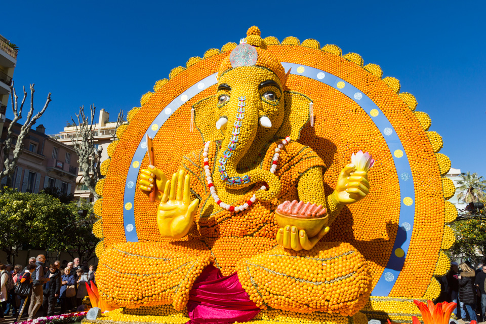 Art made of lemons and oranges in the famous Lemon Festival (Fete du Citron) in Menton, France.