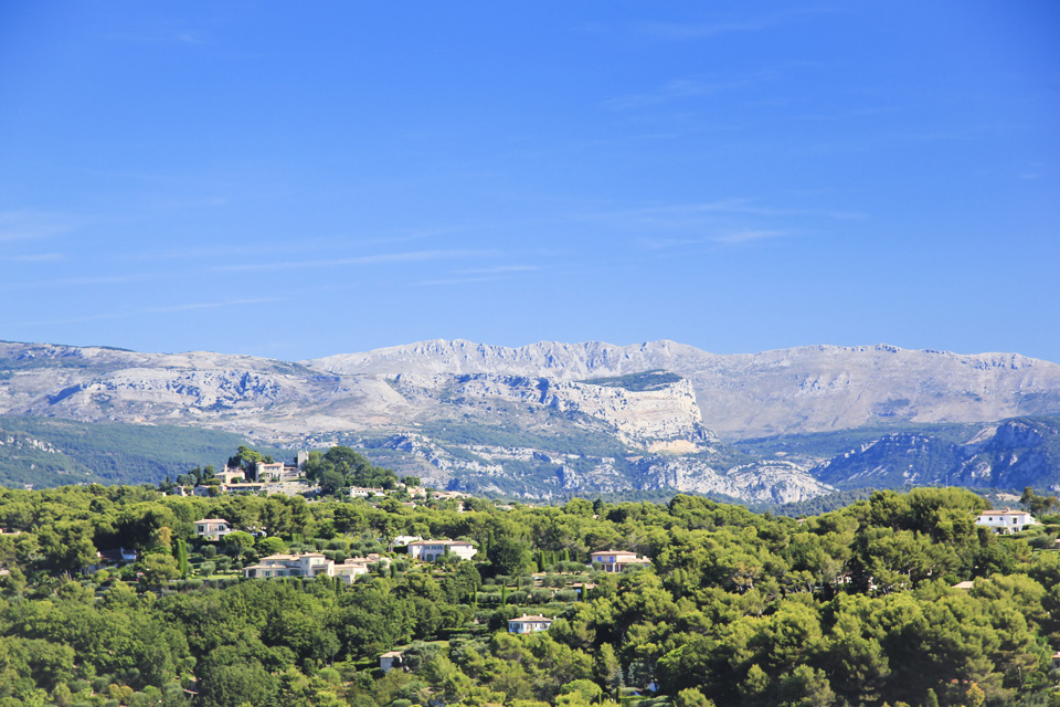 Views over mountains on the sides of the hills inland in the cote d'azur in the south of france