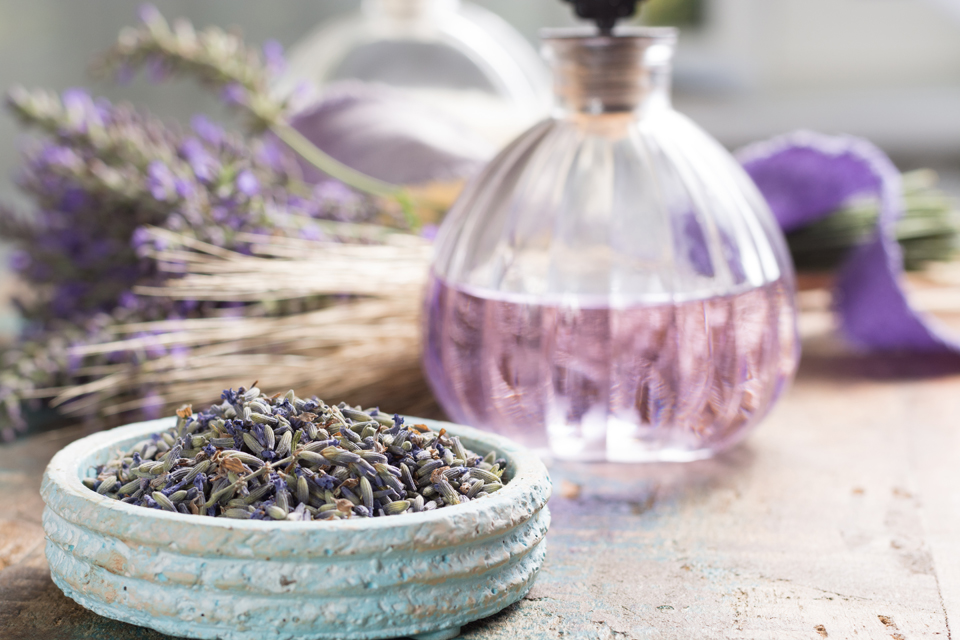 Nature cosmetics, handmade preparation of essential oils, parfums, creams, soaps from fresh and dried lavender flowers, French artisanal boutique home style