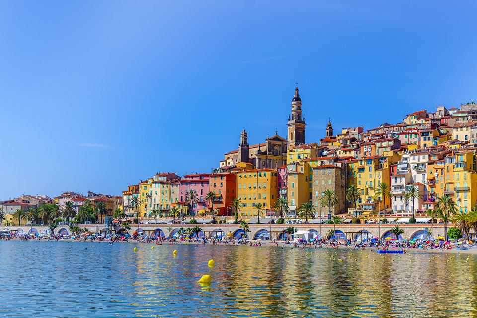 Menton - view of the old village from the sea.