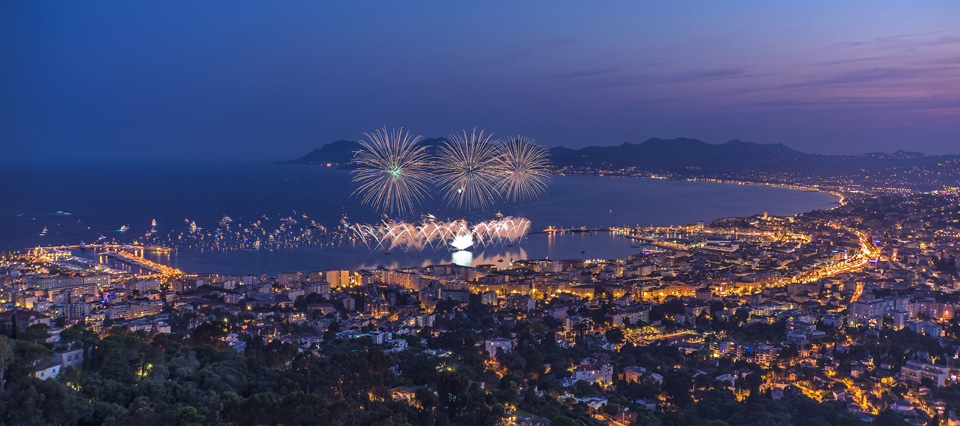 Fireworks in Cannes. 14th July, French national day