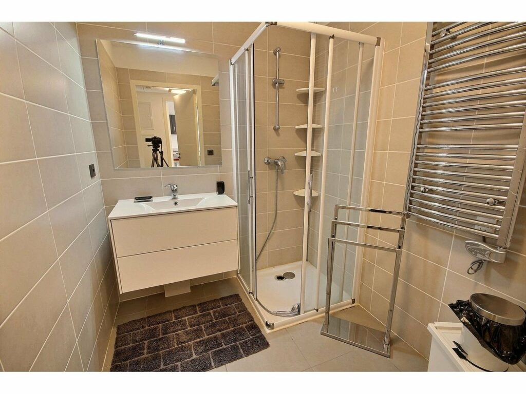 bathroom with standing shower and cream walls and single sink