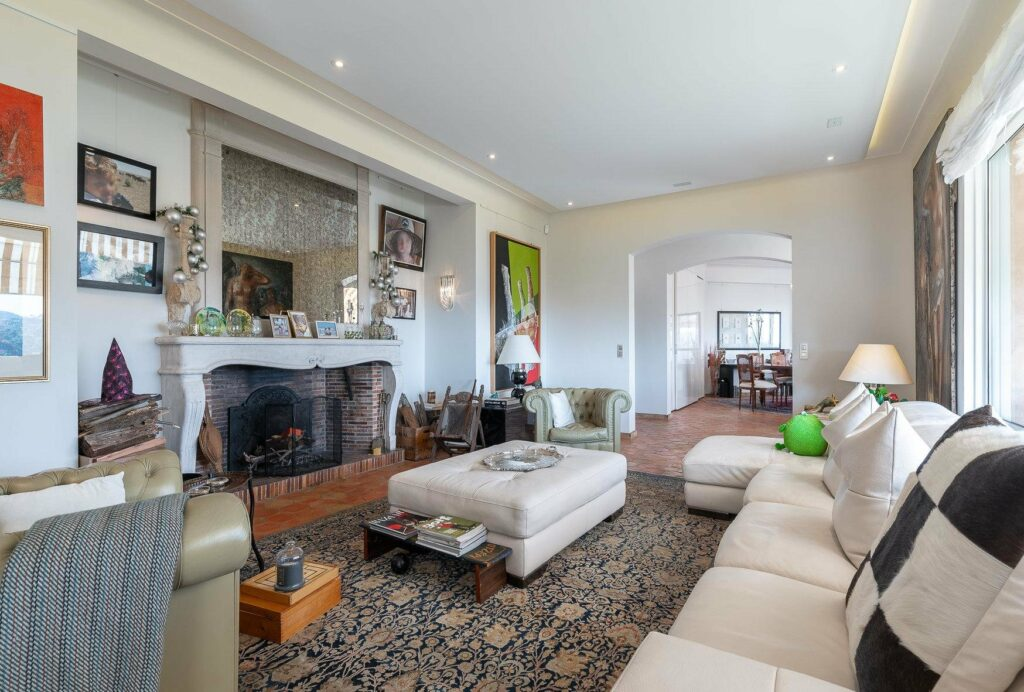 living room of large villa with pool in mougins