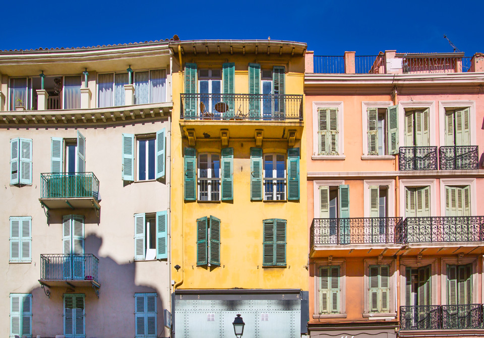 France: View the centre of the town with old colourful property.