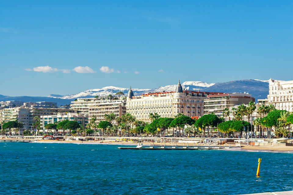 Panoramic view of Cannes, Promenade de la Croisette, the Croisette and Port Le Vieux of Cannes, French homes