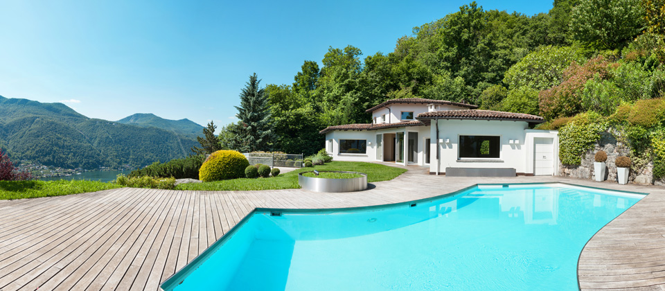 Architecture, beautiful villa with swimming pool, outdoors - property management