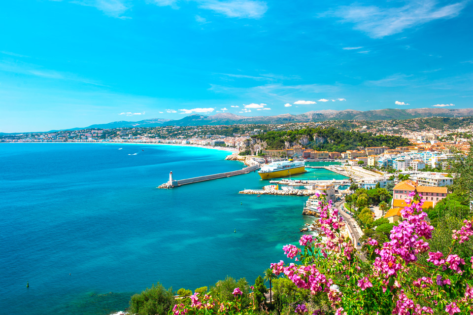 Moving to Nice city, french riviera, France. Turquoise mediterranean sea and perfect blue sky