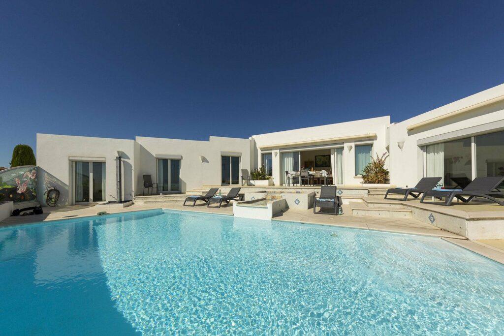 bright modern villa with pool near cannes
