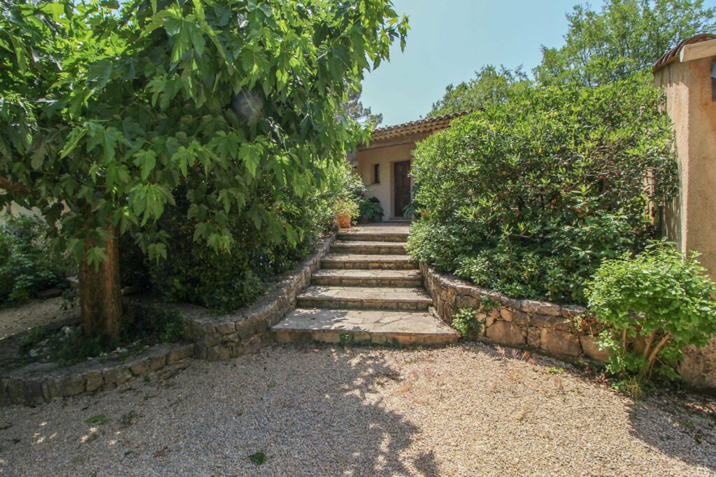 stairway leading to fayence provencal style villa with plants on both side france