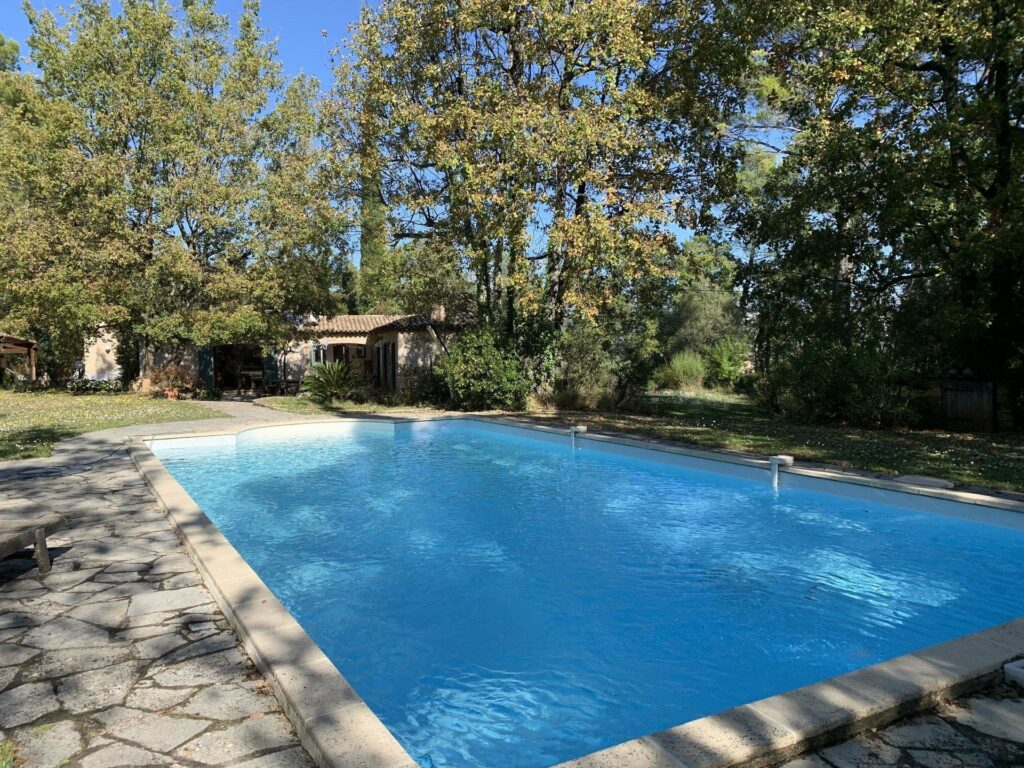 large private pool of property in south france fayence surrounded by large trees