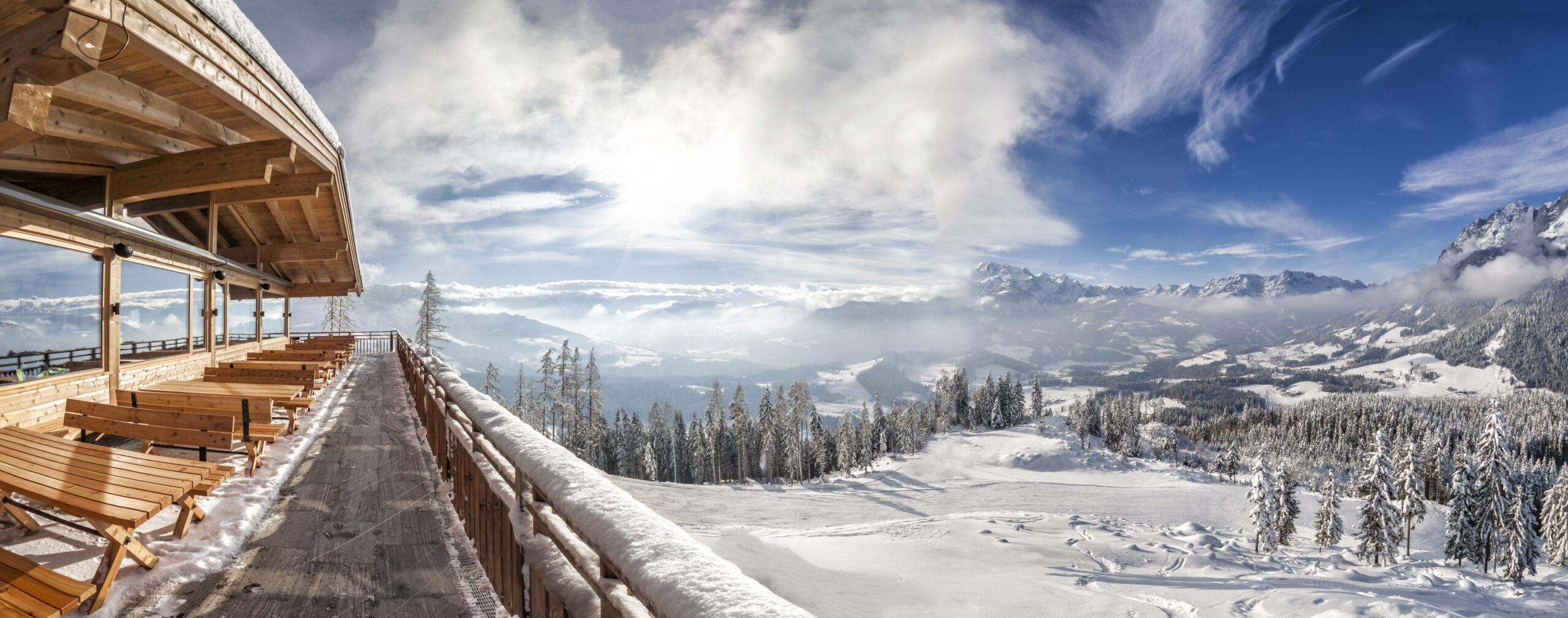 Ski resort view of snow filled land