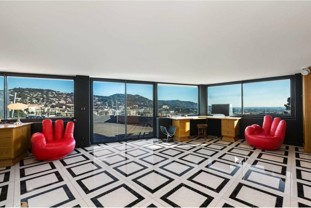 retro modern apartment in mougines cannes with amazing view of south of france city