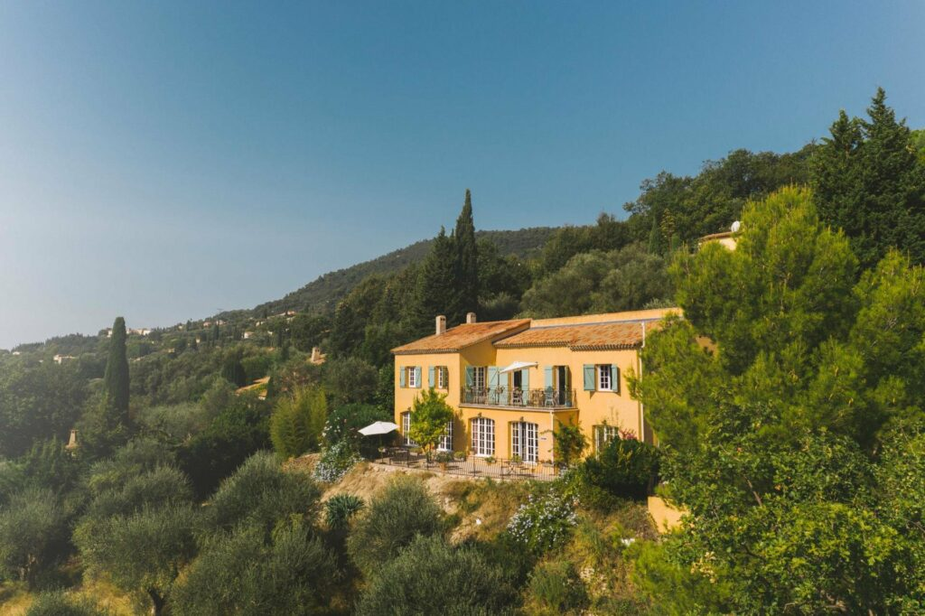 beautiful property in grasse on mountain overlooking the city surrounded by trees