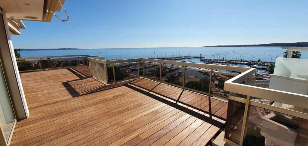 apartment view of cannes porte wooden deck