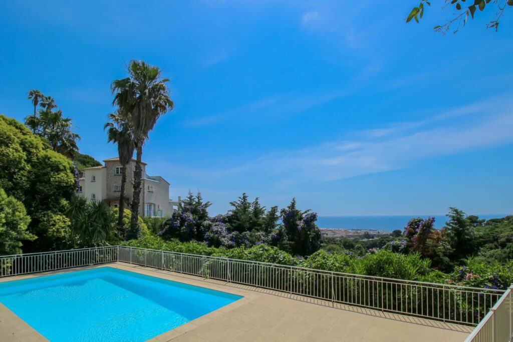 view from villa pool of mountains in south france