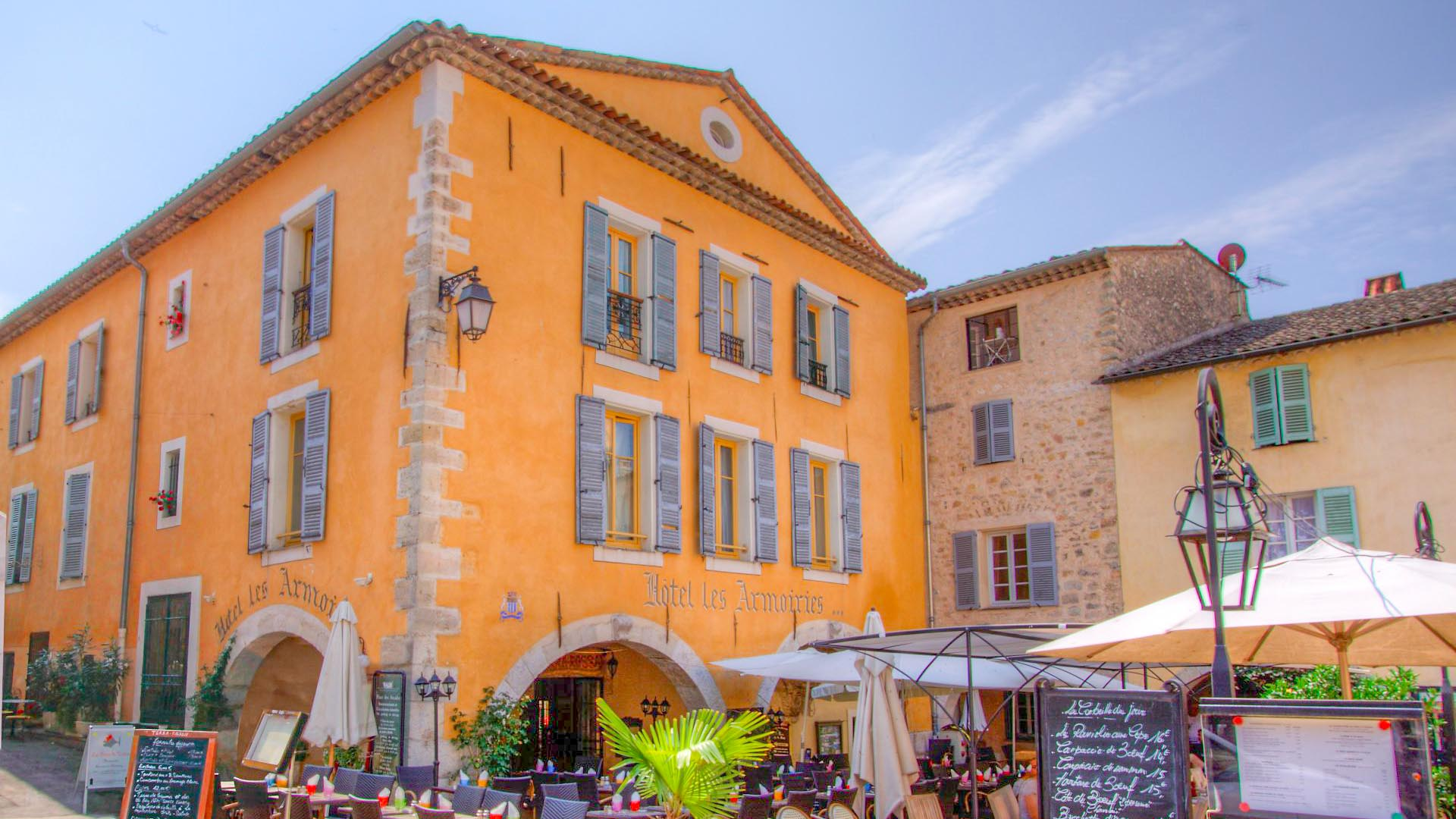 beautiful old style building in Fayence. Square where you can find many of the town restaurants.