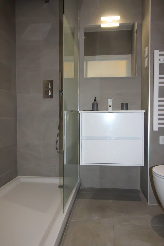 modern bathroom with grey cabinets and standing shower