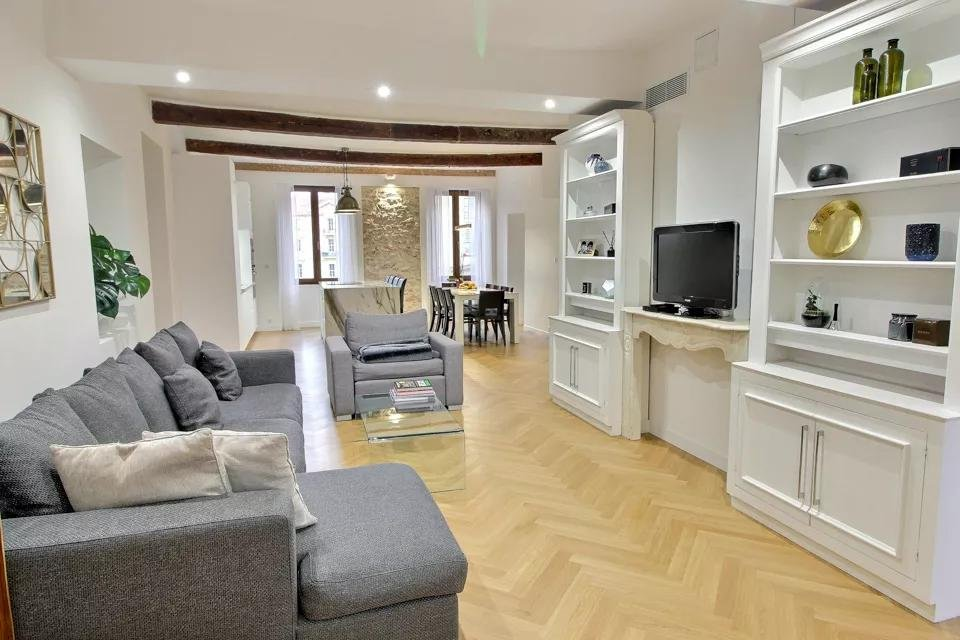 modern living room in apartment in south of france