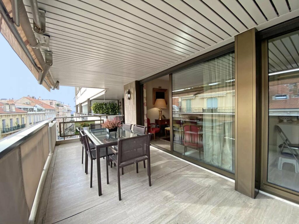 modern terrace of apartment in cannes for sale