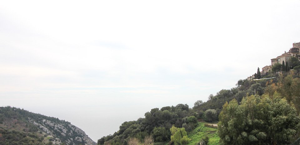 view from apartment in eze of the sea and mountain
