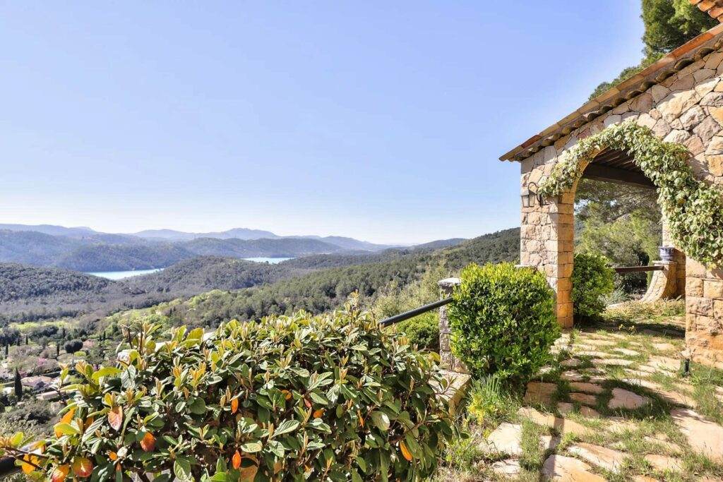 view from villa of mountains in south france