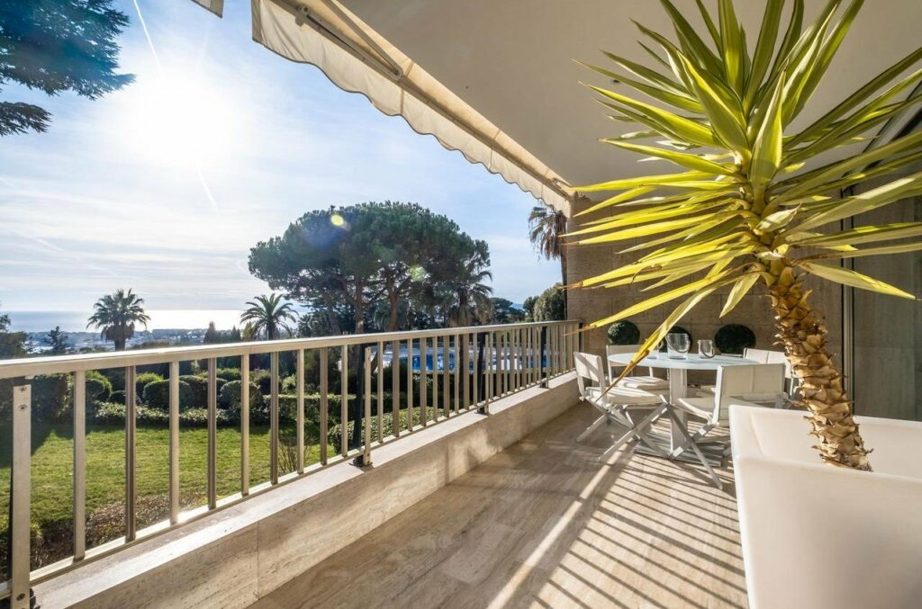 terrace view of tree in garden at apartment in cannes with potted plants
