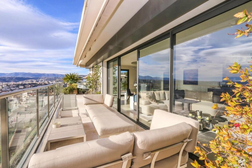 large terrace at luxury apartment in nice mont boron