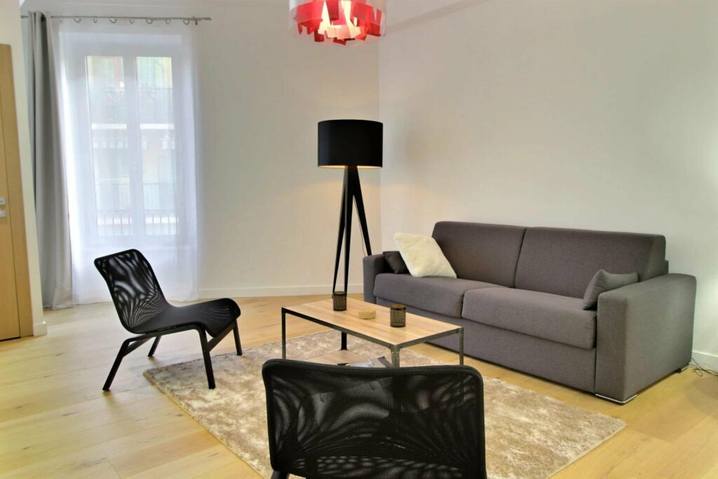 living room of apartment in nice with dark furniture and light wood floors