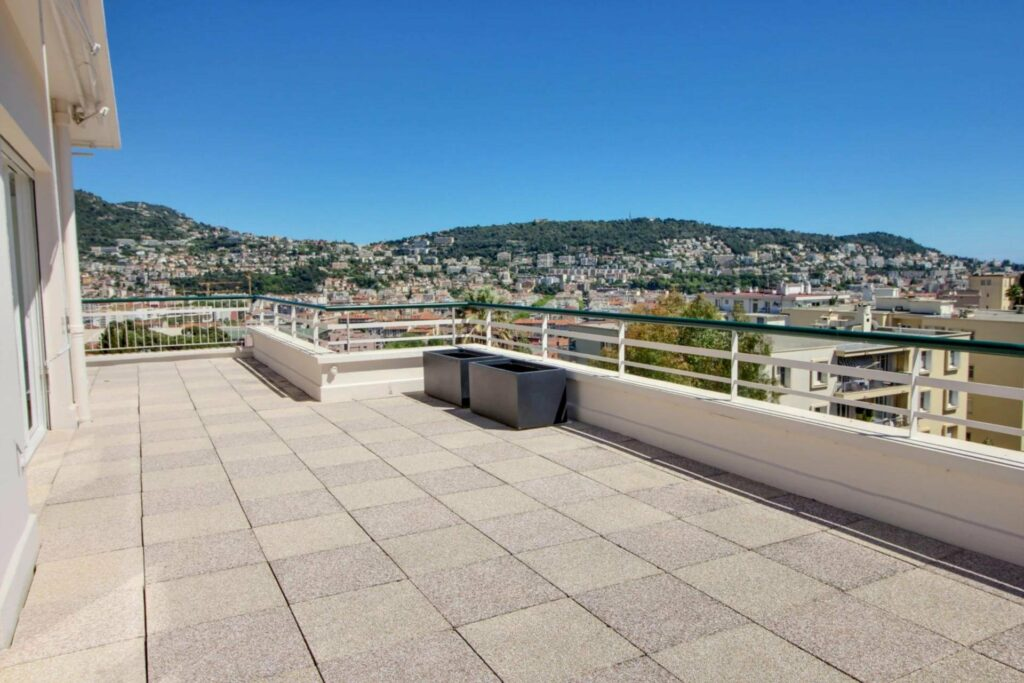 terrace view of mountains of apartment in nice