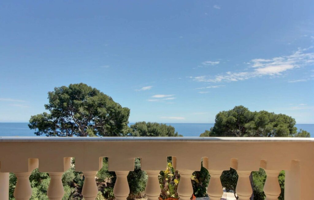 sea view from terrace of apartment for sale in cap martin