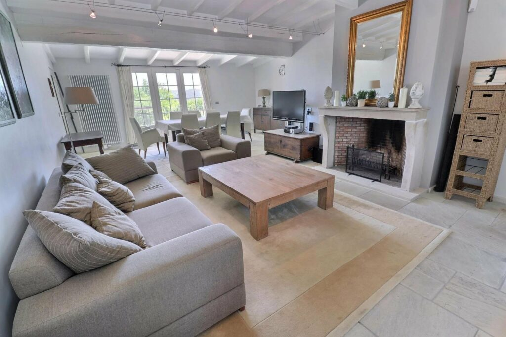 grey toned minimal style living room in villa les arcs