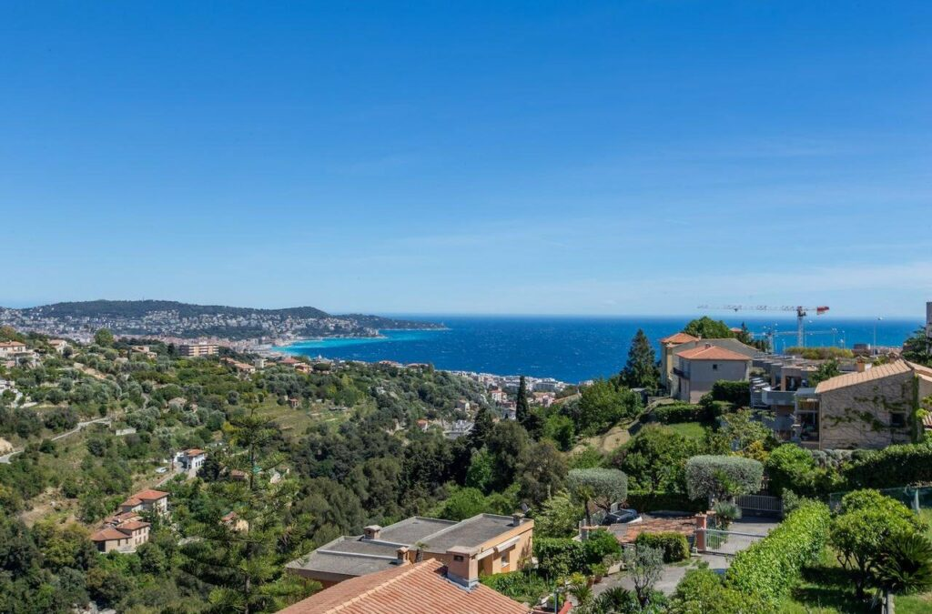 View of the coast of nice france from apartment in the hills