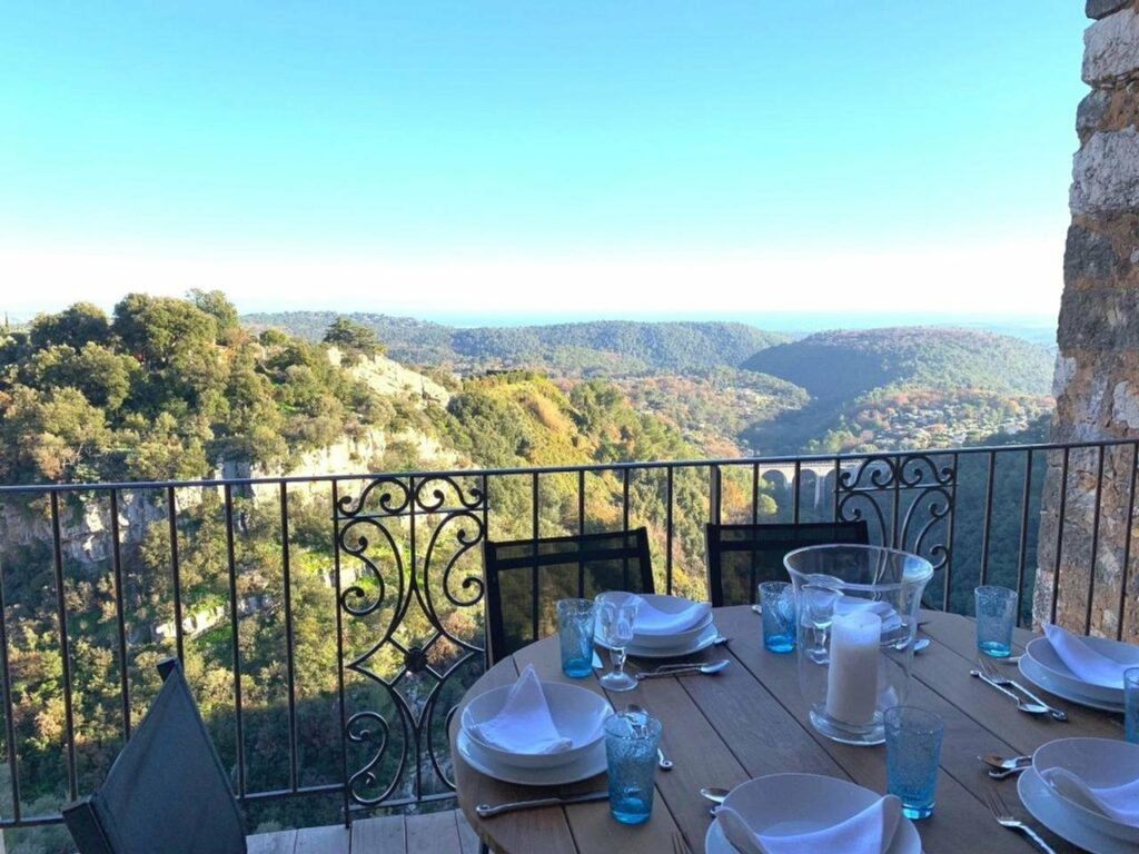 terrace of town house with amazing view of the mediterranean sea and mountains of south france