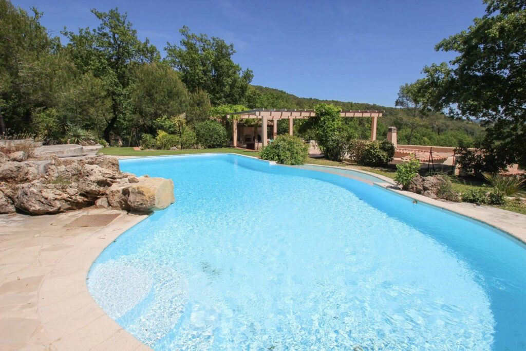 large pool at south france stone villa with mountain view
