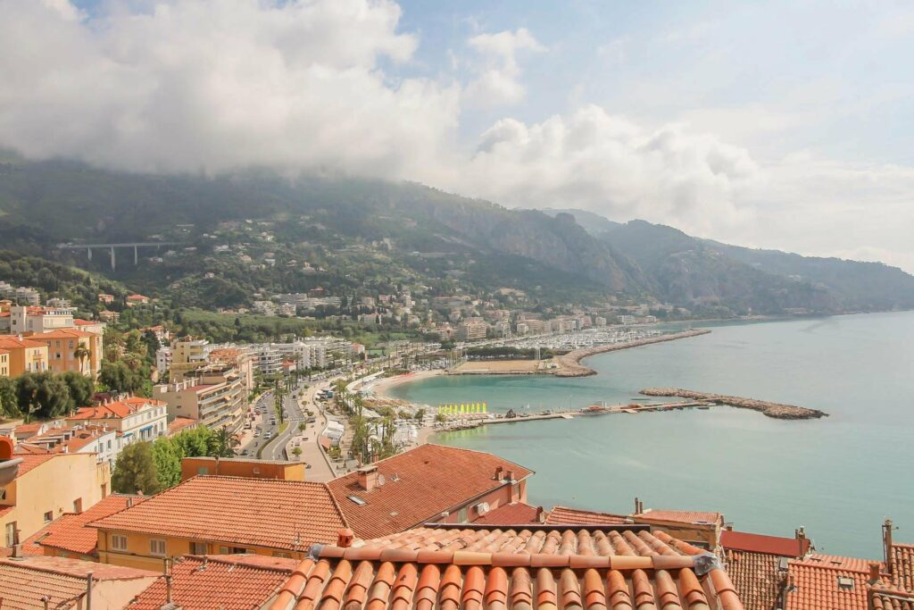 view from apartment in menton for sale with harbour and mediterranean sea city view