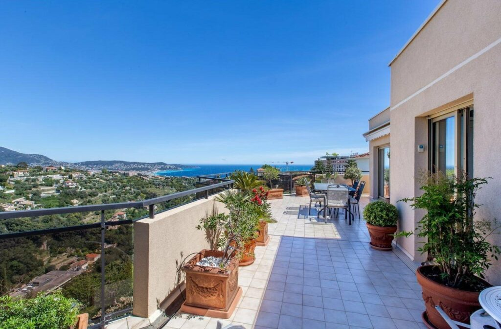 terrace of apartment in south france with sea view