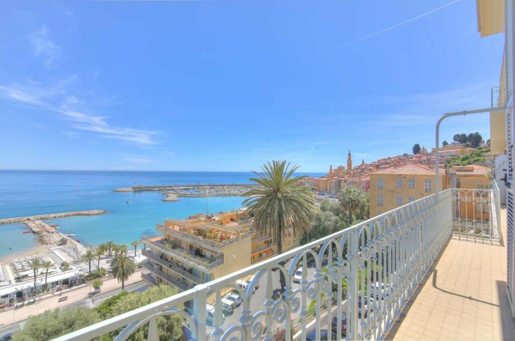 terrace sea view of apartment in menton garavan of the beautiful mediterranean sea