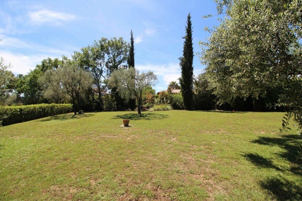 big backyard garden at south france villa with tall trees