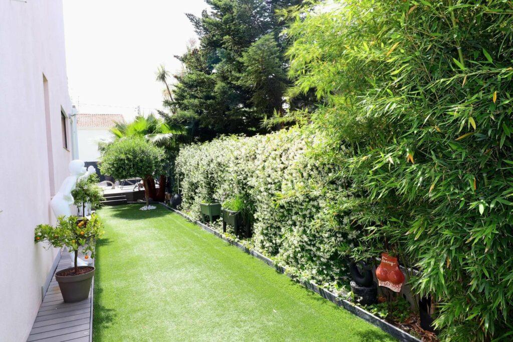 backyard garden south of france property with fresh cut grass