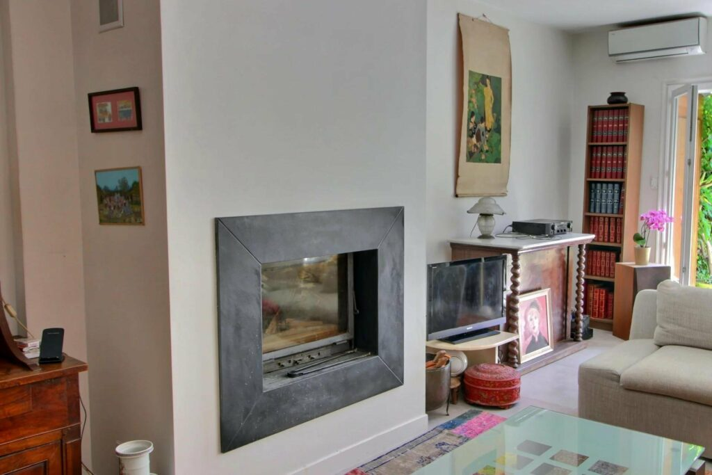 grey fireplace at villefranche home decor