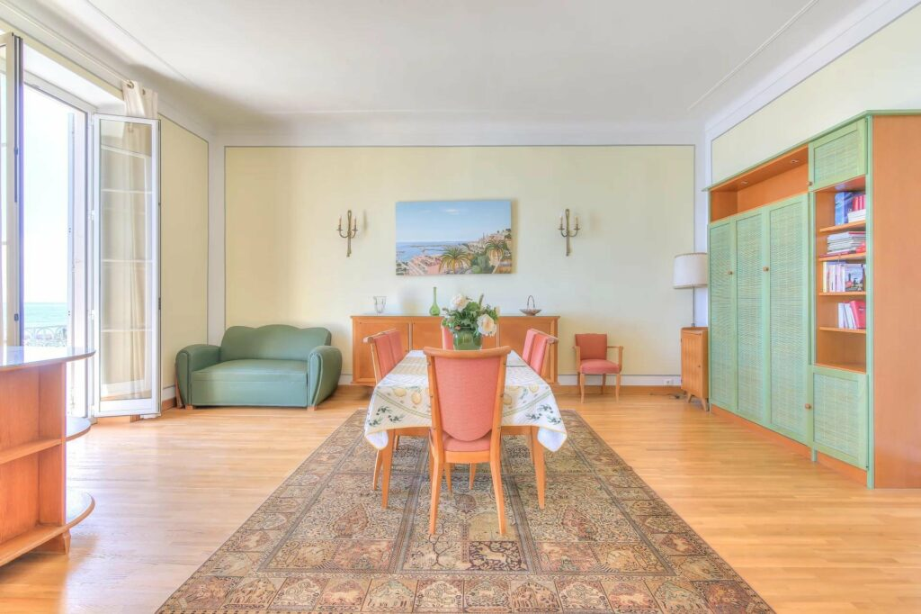 dining room charming french style with large printed rug and painting in center